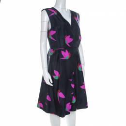 Marc By Marc Jacobs Normandy Blue Night Bird Print Silk Taffeta Dress L 223909