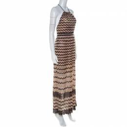 M Missoni Beige & Black Chevron Knit Halterneck Backless Maxi Dress S 224529
