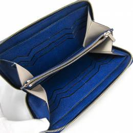Valextra Royal Blue Leather Long Wallet