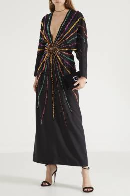 Шелковое платье с декором из кристаллов Gucci 470151193