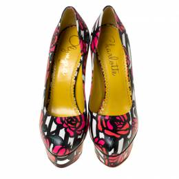 Charlotte Olympia Multicolor Rose Print Leather Dolly Platform Pumps Size 38.5 225312