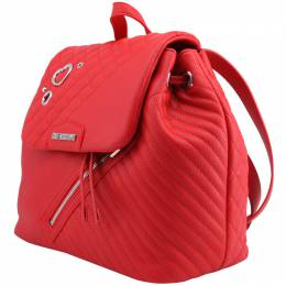 Love Moschino Red Quilted Synthetic Leather Backpack 224234