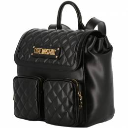 Love Moschino Black Quilted Synthetic Leather Backpack 224207