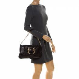 Bvlgari Black Leather Leoni Flap Shoulder Bag