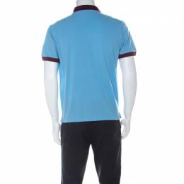 Prada Blue and Burgundy Cotton Piqué Logo Patch Polo T Shirt L 224554