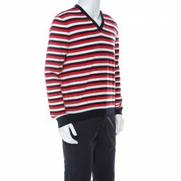 Gucci Red White Navy Striped Wool V Neck Sweater L 224632