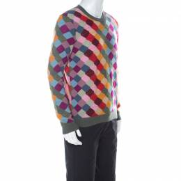 Gucci Multicolor Wool Argyle Knit Sweater XL 224521