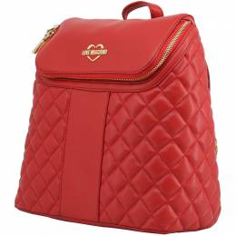 Love Moschino Red Quilted Synthetic Leather Backpack 224243