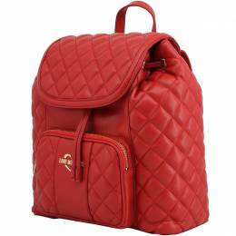 Love Moschino Red Quilted Synthetic Leather Backpack 224247