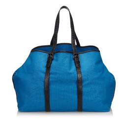 Bottega Veneta Blue Canvas Weekender Bag 214426