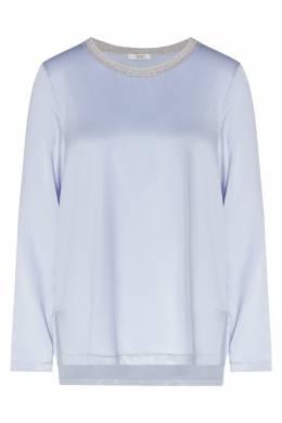 Голубая атласная блузка с отделкой Peserico 1501150961