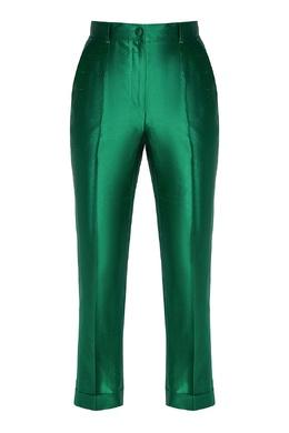 Атласные брюки зеленого цвета Dolce&Gabbana 599151012