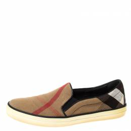 Burberry Brown Check Canvas Slip On Sneakers Size 40 225791