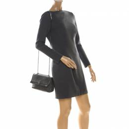 Bottega Veneta Dark Grey Intrecciato Leather Crossbody Bag 223968