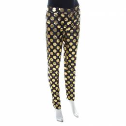Boutique Moschino Black and Gold Foil Polka Dot Pants S 223973