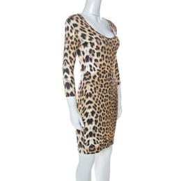 Just Cavalli Multicolor Leopard Print Fitted Three Quarter Sleeve Dress S 225074