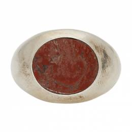Jil Sander Silver and Red Stone Chevalier Ring 192249M14700702GB