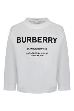 Белый лонгслив с логотипом и застежкой Burberry Kids 1253151776