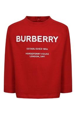 Красный лонгслив с застежкой и логотипом Burberry Kids 1253151779