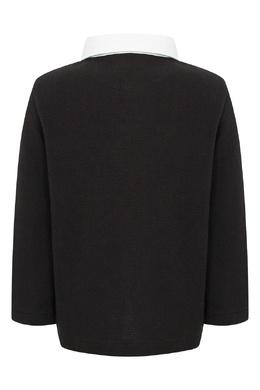 Черное поло с отделкой и логотипом Burberry Kids 1253151742