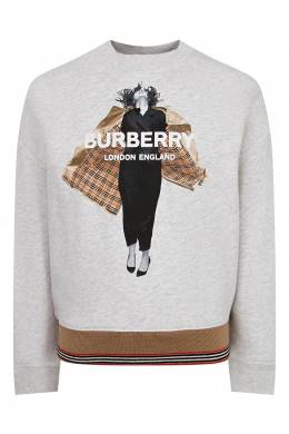 Серый свитшот с рисунком и логотипом Burberry Kids 1253151614