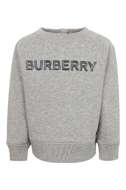 Серый свитшот с логотипом Burberry Kids 1253151615