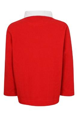 Красное поло с контрастной отделкой Burberry Kids 1253151730