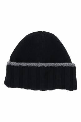 Черная шапка-бини с отворотом Fedeli 680152204