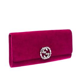 Gucci Magenta GG Crystal Embellished Suede Broadway Clutch 225090