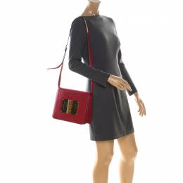 Tom Ford Red Leather Large Natalia Shoulder Bag 223585