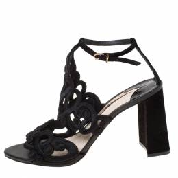 Sophia Webster Black Embroidered Lace And Suede Albany Block Heel Sandals Size 41 225501