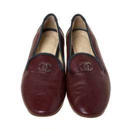 Chanel Burgundy Leather CC Slip On Loafers Size 36 225766