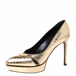 Saint Laurent Metallic Gold Lizard Embossed Leather Janis Cut Out Platform Pumps Size 36