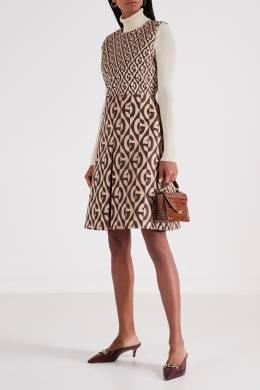 Мини-платье с контрастным узором Gucci 470151692
