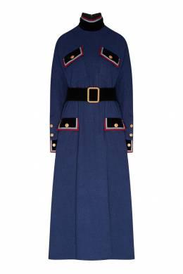 Хлопковое платье-макси с отделкой Gucci 470151736