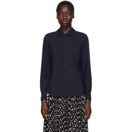 Comme Des Garcons Girl Navy Round Collar Shirt 192670F10900103GB
