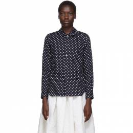Comme Des Garcons Girl Navy Polka Dot Round Collar Shirt 192670F10900602GB
