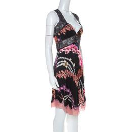 Just Cavalli Black Orchid Print Stretch Lace Trimmed Cross Back Dress M 225893