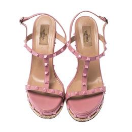 Valentino Pink Leather Rockstud T Strap Espadrille Wedges Sandals Size 41 226200