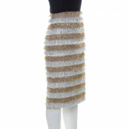 Max Mara Gold and Silver Metallic Fringed Crepe Gavetta Skirt S 226234