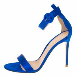 Gianvito Rossi Blue Satin Ankle Strap Sandals Size 41 225768
