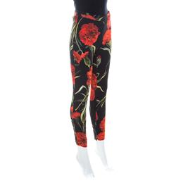 Dolce&Gabbana Black & Red Cady Carnation Print Miss Crepe Slim Leg Trousers M