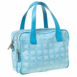 Chanel Light Blue CC Square Quilted Print Fabric Double Zip Bowler Bag 225105