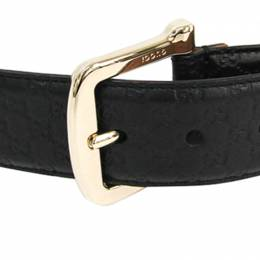 Gucci Black Leather Guccissima Belt 80CM 225559