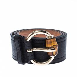 Gucci Black Leather Bamboo Buckle Belt 90CM 226612