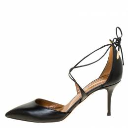 Aquazzura Black Leather Matilde Pointed Toe Pumps Size 40 224506