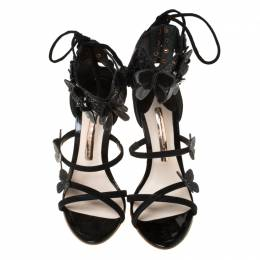 Sophia Webster Black Suede And Patent Leather Harmony Butterfly Ankle Cuff Sandals Size 35 224898