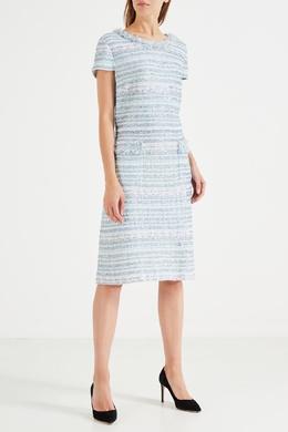 Голубое фактурное платье St. John 165597139