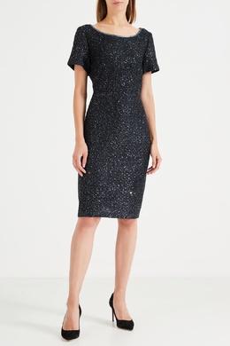 Черное мини-платье с блестками St. John 1655149950