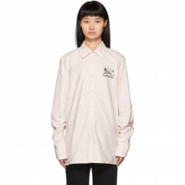 Raf Simons Pink Embroidered Slim Fit Collared Shirt 192287F10900607GB